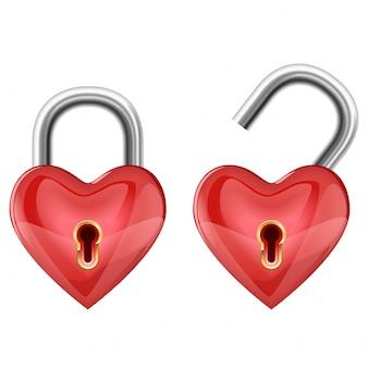 Kłódka w kształcie serca w pozycji zablokowanej i odblokowanej. ilustracji wektorowych