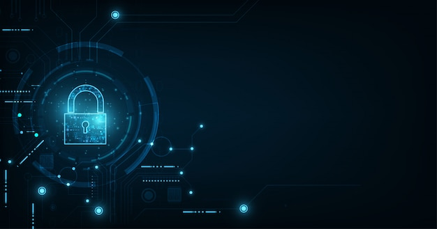 Kłódka z ikoną dziurki od klucza. bezpieczeństwo danych osobowych ilustruje ideę prywatności danych cyfrowych lub informacji. kolor niebieski streszczenie hi-speed technologia internetowa.