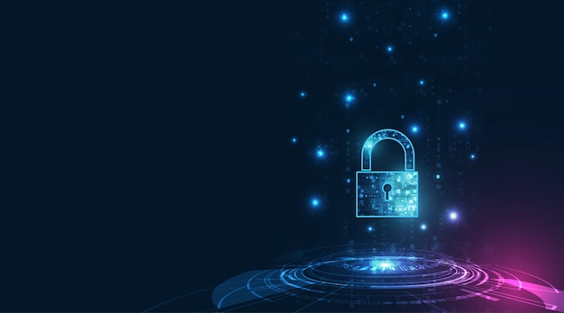 Kłódka z ikoną dziurki od klucza w ochronie danych osobowych ilustruje ideę prywatności danych cybernetycznych lub informacji. kolor niebieski streszczenie hi-speed technologia internetowa.