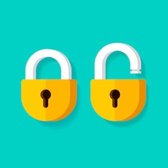 Kłódki lub zamek otwórz i zablokuj zamknięte ikony na białym tle clipart