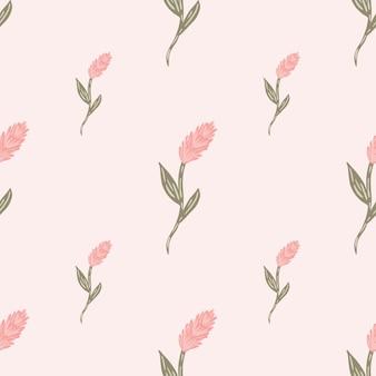 Kłos pszenicy doodle sylwetki natura organiczny wzór. pastelowe różowe kolory. druk przyrody rolnictwa. projekt graficzny do owijania tekstur papieru i tkanin. ilustracja wektorowa.