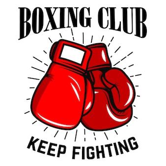 Klub bokserski, walcz dalej. bokserskie rękawiczki na białym tle. element plakatu, etykiety, godło, znak. ilustracja
