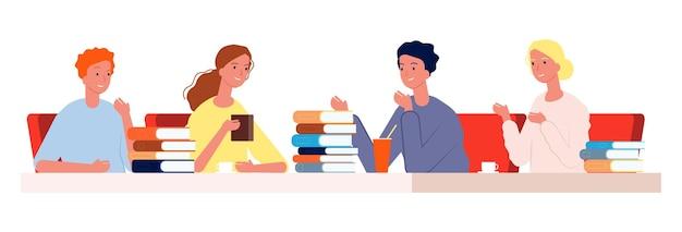 Klub czytelniczy. młodzi ludzie spotykają kawiarnię z książkami.