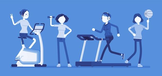 Klub fitness kobiet. szczupłe, atrakcyjne panie wykonujące ćwiczenia sportowe na sprzęcie do treningu siłowego, sprzęt do ćwiczeń dla zdrowia, utrata wagi dla sylwetki. ilustracja z postaciami bez twarzy