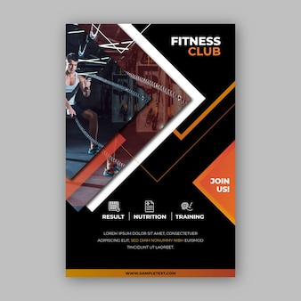 Klub fitness projekt plakatu sportowego