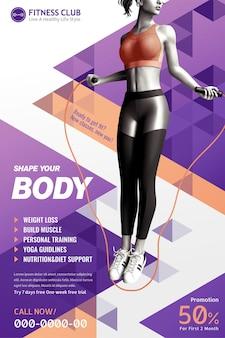 Klub fitness z szczupłą dziewczyną skakanka na fioletowym tle geometrycznym