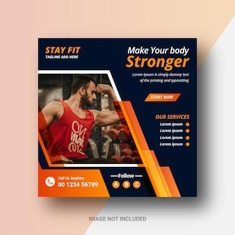 Klub gimnastyczny na instagramie post w mediach społecznościowych i projektowanie banerów internetowych