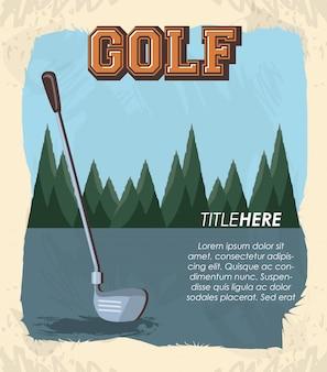 Klub golfowy retro transparent z kijem