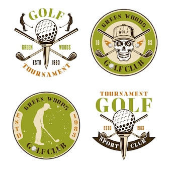 Klub golfowy zestaw czterech kolorowych emblematów wektorowych, odznak, etykiet lub logo w stylu vintage na białym tle