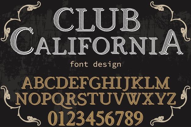 Klub graficzny w stylu alfabetu kalifornia