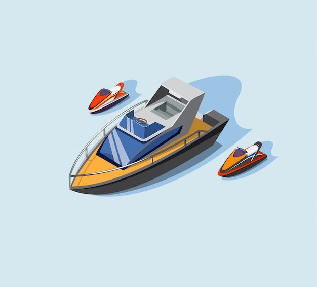 Klub jachtowy, malowana łódź motorowa i pływająca, sporty wodne, wakacje na morzu, ilustracja. projekt izometryczny