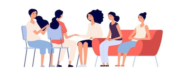 Klub kobiety. psychoterapia grupowa, płaskie postacie kobiece razem. wsparcie emocjonalne, przyjaźń lub rodzina. ilustracja wektorowa na białym tle psycholog konsultacji dziewczyny. kobieta wsparcia psychologicznego