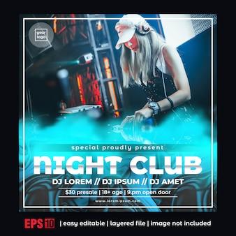 Klub nocny party plakat szablon kwadratowy rozmiar