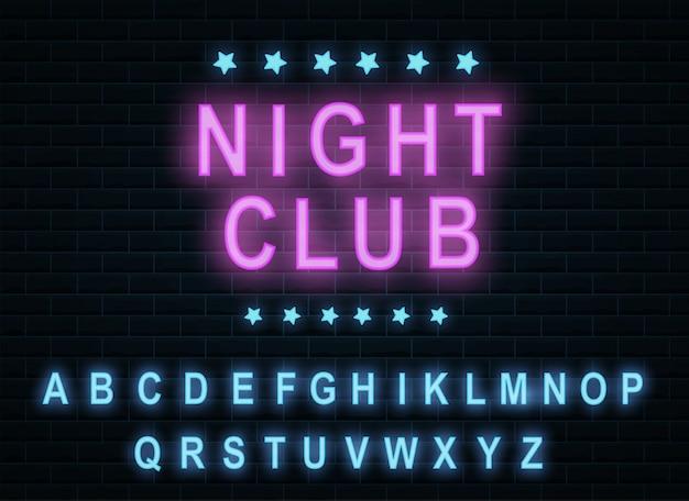 Klub nocny w neonowym kolorze alfabetu. skład