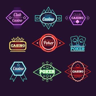 Klub pokerowy neon light i kolekcja emblematów kasyn