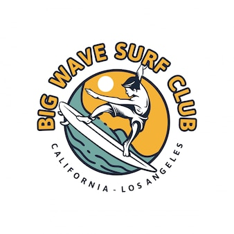 Klub surfingu big wave. t shirt design surfing plakat retro vintage ilustracji