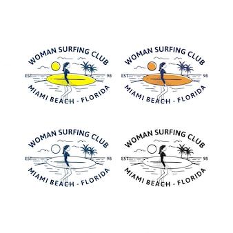Klub surfingu kobieta. projekt logo znaczek t shirt kobieta surfer w stylu retro vintage