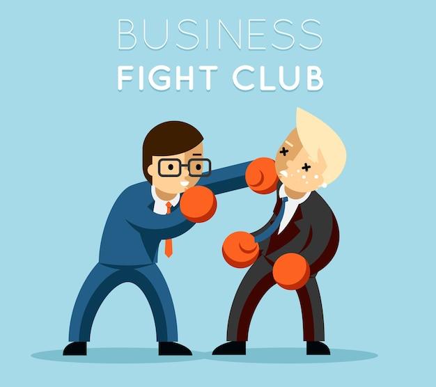 Klub walki biznesowej. boks i rękawice, biznesmeni i przemoc, siła boksera.