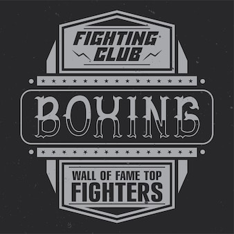 Klub walki, boks, vintage design z kaligraficzną kompozycją.