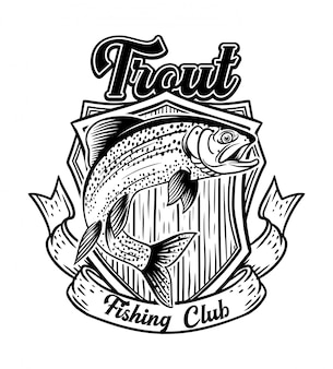 Klub wędkarski z pstrągiem z odznaką vintage