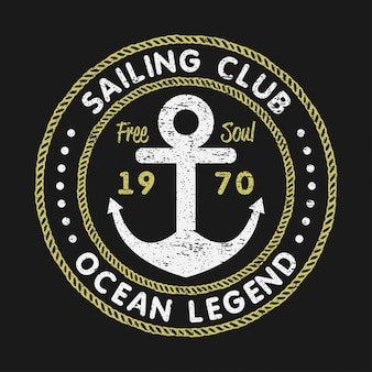 Klub żeglarski grunge typografii do projektowania koszulek z kotwicą i liną