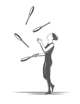 Kluby żonglerskie. element cyrkowy na białym tle. ilustracja do cyrku