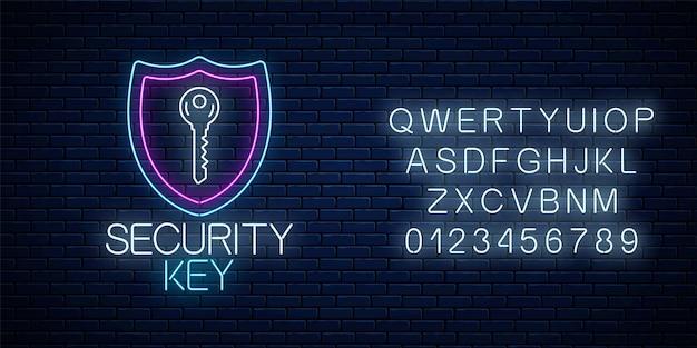Klucz bezpieczeństwa świecący neon z alfabetem. symbol ochrony internetu z tarczą i kluczem blokady.