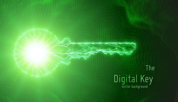 Klucz cybernetyczny na tle binarnym