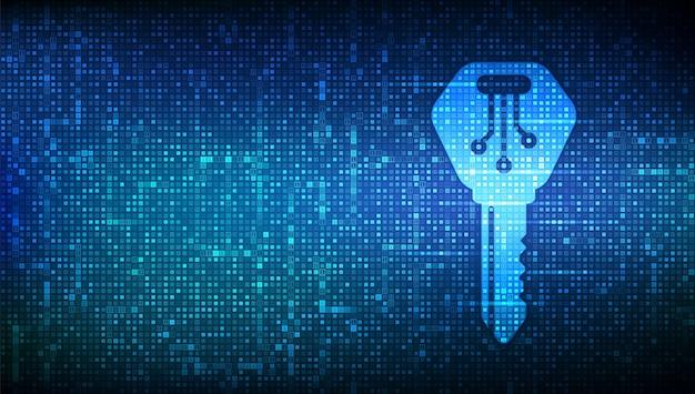Klucz cyfrowy. ikona klucza elektronicznego wykonana z kodem binarnym. cyberbezpieczeństwo i tło dostępu.
