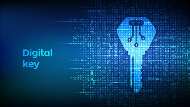 Klucz cyfrowy. ikona klucza elektronicznego wykonana z kodem binarnym.