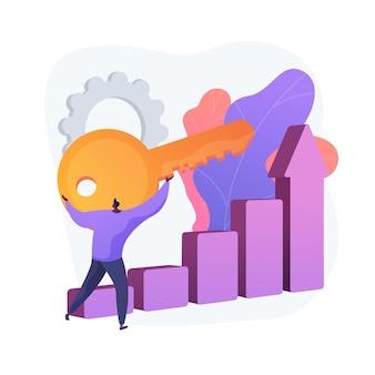 Klucz do sukcesu biznesowego. postęp firmy, tajemnica przywództwa, ambitne plany. przedsiębiorca wykorzystujący możliwości biznesowe, osiągający najwyższą pozycję. ilustracja wektorowa na białym tle koncepcja metafora