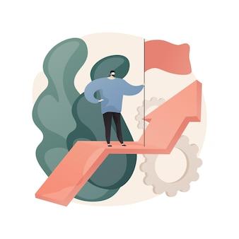 Klucz do sukcesu streszczenie ilustracji. sukces biznesowy, aktywa biznesowe, misja firmy, wizja i filozofia w płaskiej formie