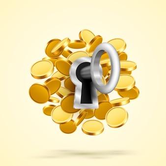 Klucz do zamka z monetami. ilustracja wektorowa