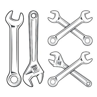Klucz i klucz nastawny. ikona narzędzia naprawy na białym tle.