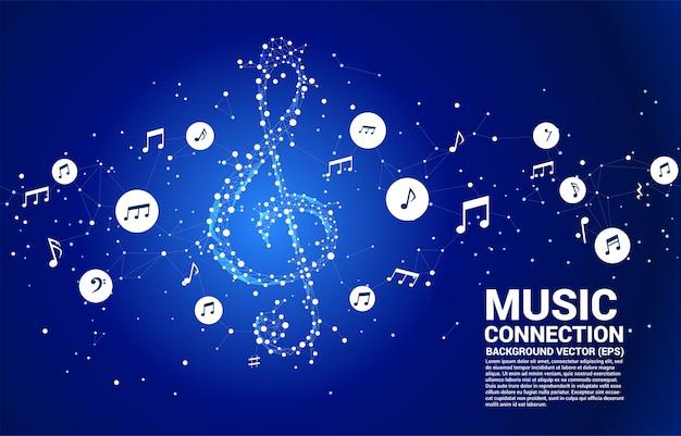Klucz muzyczny sol wektor z kropki połączyć linię