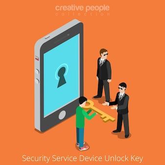 Klucz odblokowania urządzenia usługi bezpieczeństwa. specjalni agenci biorący uniwersalną wskazówkę do smartfona.
