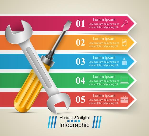 Klucz, śruba, ikona naprawy infografika biznesowych