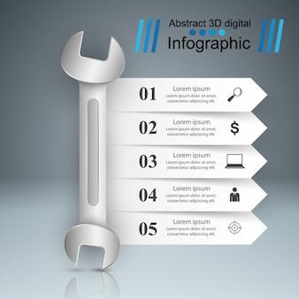 Klucz, śruba, ikona naprawy. infografika biznesu.