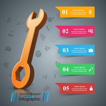 Klucz, śrubokręt, ikona naprawy infografika firmy