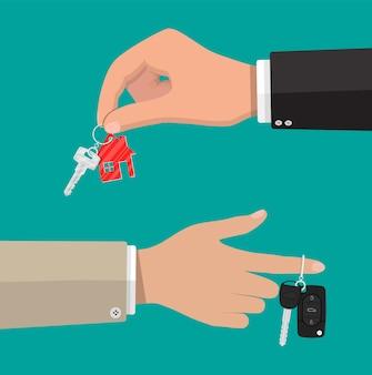 Klucz z kluczem do domu i klucz samochodowy z alarmem