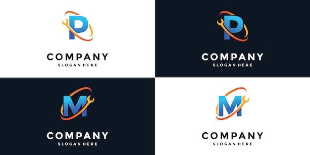 Klucz z logo litery p i m.