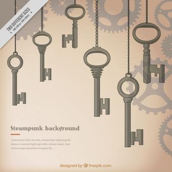 Klucze ręcznie rysowane tła steampunk