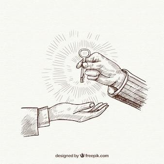 Kluczowa biznesowa pojęcie z ręka rysującym stylem