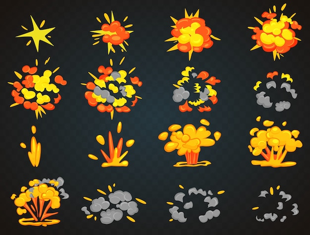 Kluczowe klatki animacji wybuchu bomby. ilustracja widoku z góry i przodu bang