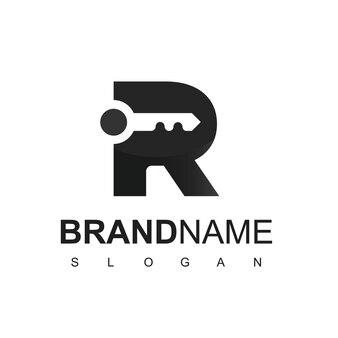 Kluczowe logo z inicjałem r dla symbolu nieruchomości i firmy ochroniarskiej
