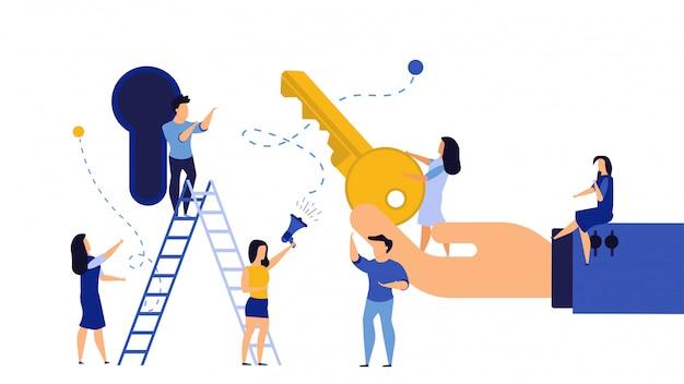 Kluczowego osiągnięcia sukcesu biznesowego takeaway ilustracyjnego sukcesu rozwiązanie.