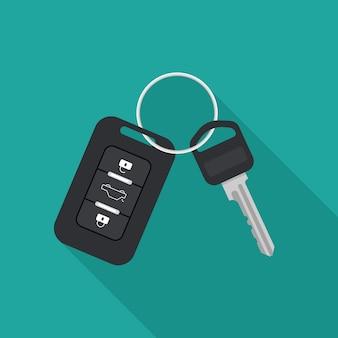 Kluczyk samochodowy i system alarmowy. koncepcja wynajmu lub sprzedaży samochodów. ilustracja wektorowa w modnym stylu płaski.