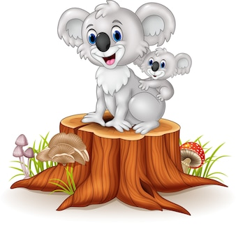 Koala dziecko kreskówka na powrót matki na pniu drzewa