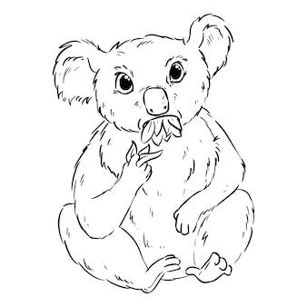 Koala jedzenie kreskówka eukaliptusa doodle. śliczne koala animag do żucia pozostawia komiks do kolorowania w stylu czarnego konturu