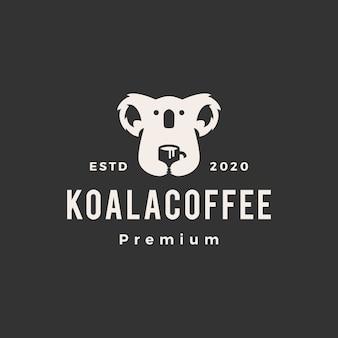 Koala kawa vintage logo ikona ilustracja